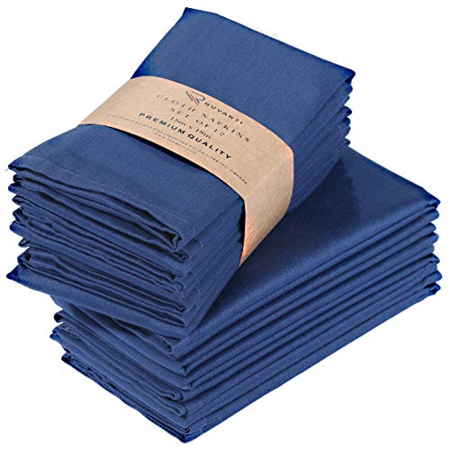Ruvanti Kitchen Cloth Napkins 12 Pack 18X18 Inch Dinner Napkins Soft & Comfortable Reusable Napkins -Durable Linen Napkins -Perfect Table Napkins / Navy Blue Napkins for Holiday Parties,Weddings &More