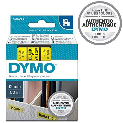DYMO D1-Etiketten selbstklebend (schwarzer Druck auf gelbem Untergrund, 12 mm x 7 m, für LabelManager-Etikettendrucker, authentisches Produkt)