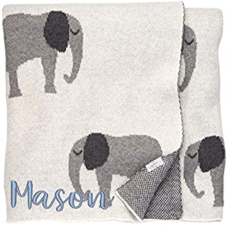 Mud Pie Personalized, Embroidered Baby Blanket, Swaddle or Toddler Blanket, 100% Soft Cotton Knit, Elephant Theme, Gray