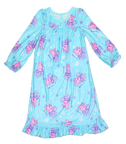 Peppa Pig Toddler Girls Flannel Granny Gown Nightgown, Blue/Purple Ice Skate, 3T