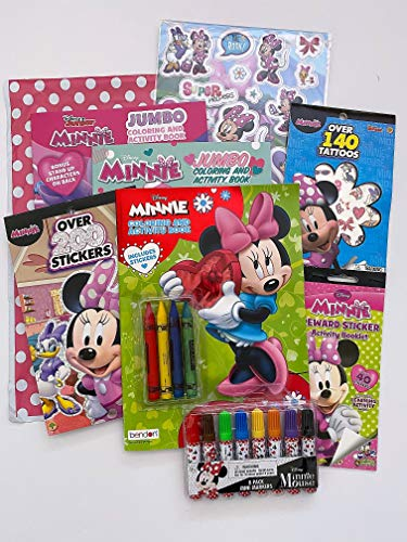 Disney Minnie Mouse Coloring Book and Stickers Ultimate Craft Activity Set for Kids Toddlers - Bundle Includes Coloring Books, Stickers, Tattoos, Crayons and Markers in Gift Bag
