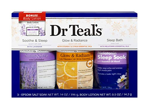 Dr Teal's Epsom Salt Variety Pack (Lavender, Melatonin Sleep Soak, Vitamin C & Citrus 14 oz. bags) w/ 1 oz. Lavender Body Lotion