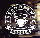 Wall4stickers Fresh Brewed Coffee Takeaway Café Fresco Comida para Llevar Ventana Signo Vinilo Pegatina Gráficos Cafetería Tienda Salón Bar Restaurante Etiqueta de Vidrio decoración de la Tienda