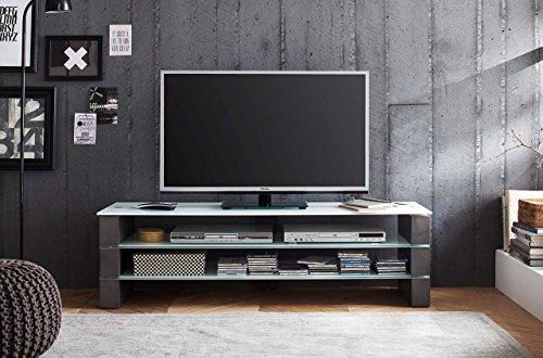lifestyle4living TV-Rack, TV-Board, Fernsehtisch, TV-Schrank, TV-Bank, TV-Unterschrank, Beton, grau, weiß, Glas, Phonomöbel, TV-Ständer, TV-Stand