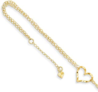 14k Yellow Gold Double Strand Heart 9 10 Adjustable Chain Plus Size Extender Anklet Ankle Beach Bracelet Fine Jewelry Gifts For Women For Her