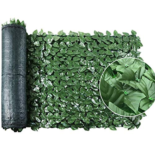 Fallve Artificial Screening Ivy Leaf Hedge Fake Vine Green Leaves Fake Plants Hanging Vine Plant Panels On Roll Privacy Garden Fence Balcony Screen for Indoor Outdoor Decor 0.5m x 3m, Green
