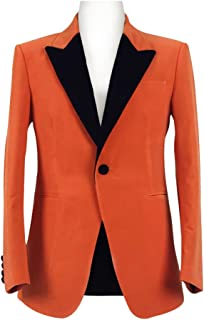 Very Last Shop Men's Slim Fit Orange Tuxedo Suit Blazer Jacket with Black Lapel Movie Costume