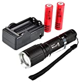 WindFire S12 2000 Lumen Flashlight 5 Modes Cree T6 XM-L Led Zoomable Camping Rechargeable Torch Flash Light Lamp With Clip + 2pcs 18650 Li-ion Batteries + 18650 Dual Charger Set for Walking Hiking