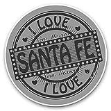 Lot de 2 autocollants en vinyle « I Love Santa Fe Mexico » 15 cm (bw) – Autocollant amusant pour ordinateur portable, tablette, bagage, scrapbooking, réfrigérateur, cadeau cool #40689