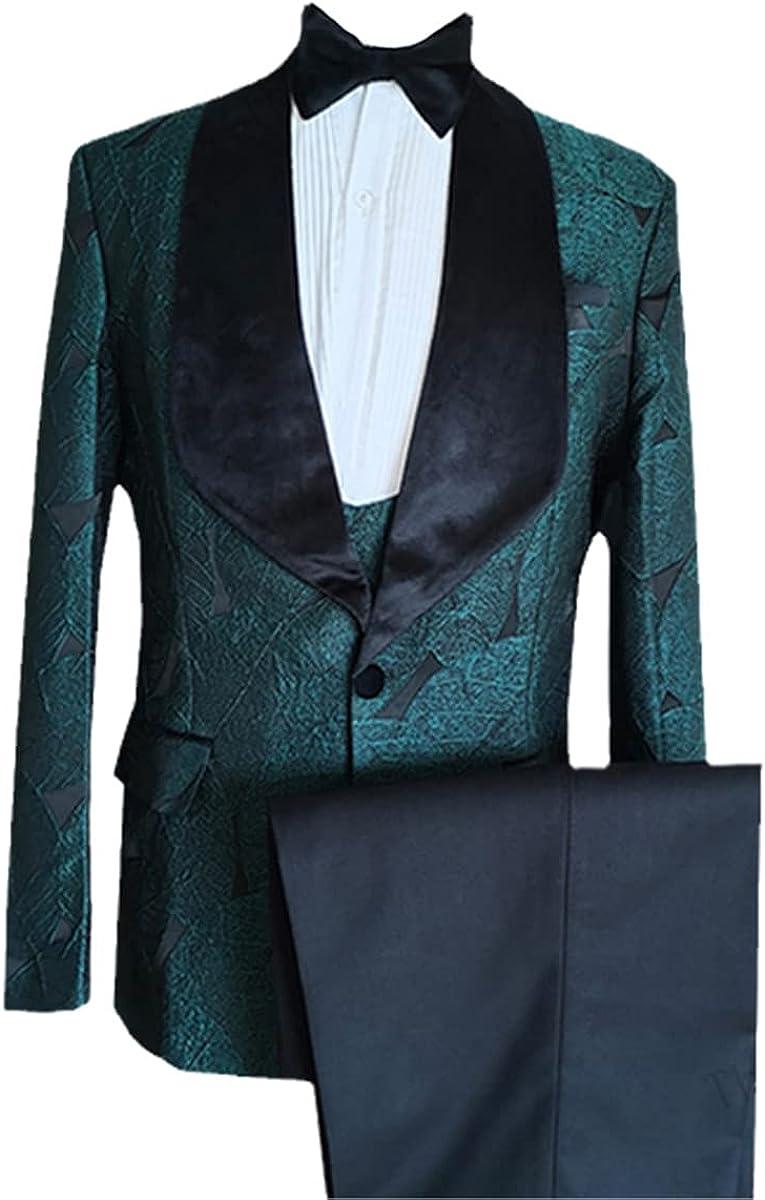 White with Black Lapel Men's Suit Custom Slim Groom Custom 3-Piece Wedding Suit Jacket + Pants + Vest