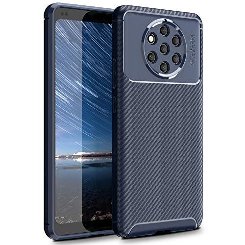 MYLBOO Custodia Nokia 9 PureView, Cover Antiurto Morbida e Sottile con Custodia Protettiva Ibrida in Silicone TPU Flessibile Custodia in Fibra di Carbonio per Nokia 9 PureView (Blu)