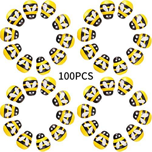 100 Stücke Kleine Holz Biene Selbstklebende Mini Biene Holz Sticker Biene für Verschönerung, Karten Herstellung, Dekoration, Gelb