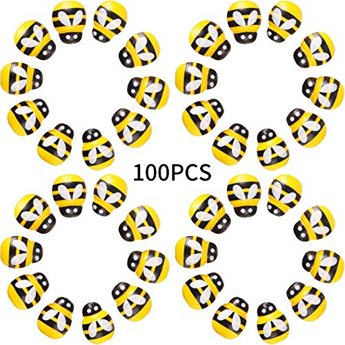 100 Pieces Tiny Wooden Bee Self Adhesive Bee Mini Wooden Bee Wooden Stickers Bee for Embellish, Card Making, Decoration, Yellow