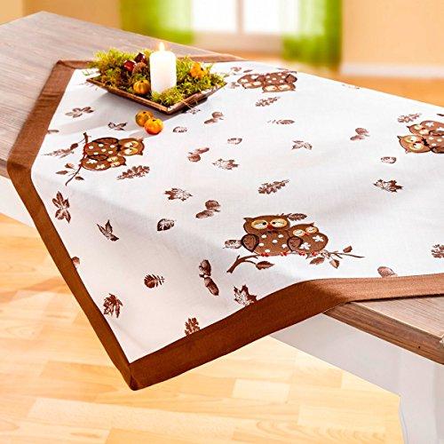 vivaDOMO Mitteldecke Eule, herrlich herbstliche Tischdecke mit Eulen