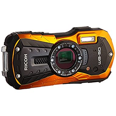 Ricoh WG-50 16MP Waterproof Still/Video Camera Digital with 2.7  LCD, (Orange)