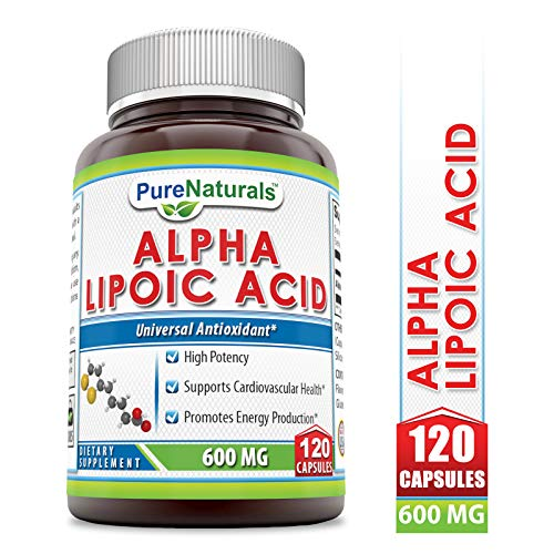 Pure Naturals Alpha Lipoic Acid 600 Mg 120 Capsules, High Potency* Supports Cardiovascular Health* Promotes Energy Production*