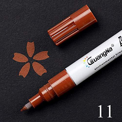0,5 mm acryl tekening graffiti pen, 18-kleuren handtekening pen, keramische zwarte kaart pen, kleur tekenpen-Koffie