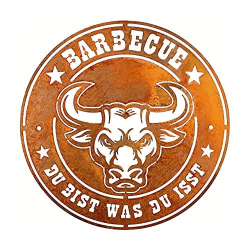 Rerum & Consilium Schild Barbecue - Du bist was du isst - in Edelrost-Optik I Made in Germany I klein I 32 cm I 445 g I Stahl