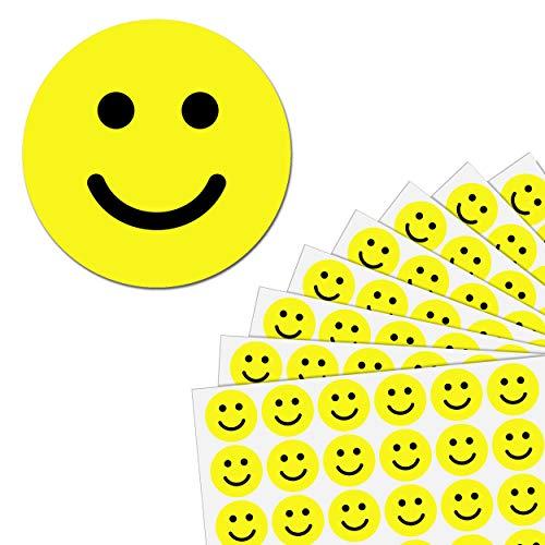 2,5cm Gelb Glücklich Gesicht Smile Aufkleber - 600 Stück