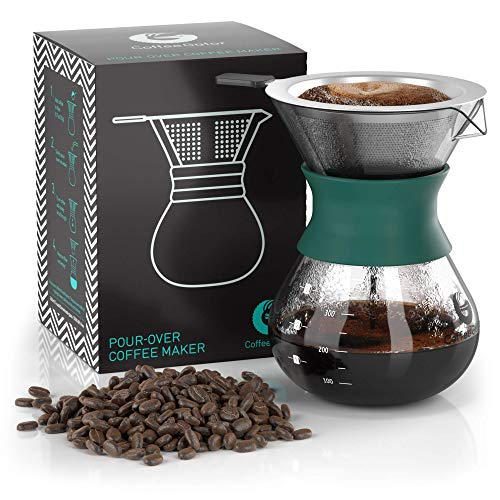 Coffee Gator Paperless Pour Over Coffee Dripper Brewer, 10.5oz, Green