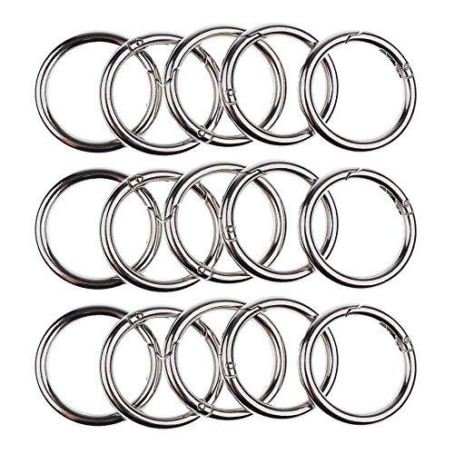 Karabiner Klein, Karabiner Schlüsselanhänger, 30pc Runde Karabiner Ring Karabiner Snap Karabiner (Silber)