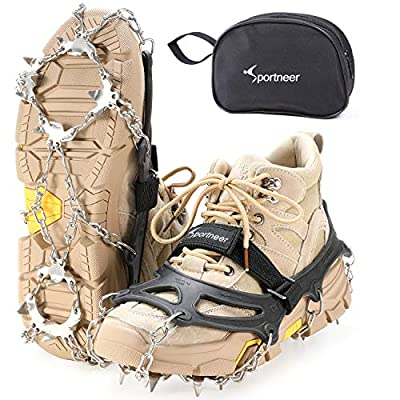 Sportneer Crampons Traction Ice Cleats, 19 Spikes Stainless Steel Anti-Slip Ice Snow Grips for Women, Kids, Men Shoes Boots, Safe Protect for Mountaineering, Climbing, Hiking, Walking, M