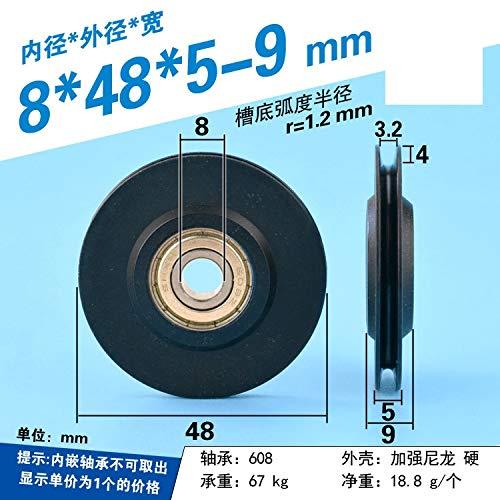 WYX-TONGBUDAI, 1pc 8 * 48 * 5-9mm 2 mm Guía de la línea Delgada de Ruedas, Groove V Ranura T Rueda de Nylon, 608 rodamiento de la polea, el Envoltorio de plástico (Size : 2mm)