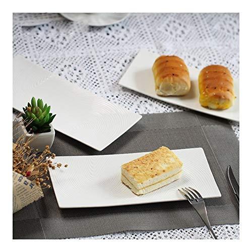 YJSS Jxxxjs - Platos de porcelana de calidad, rectangulares, para sushi o dish, color blanco