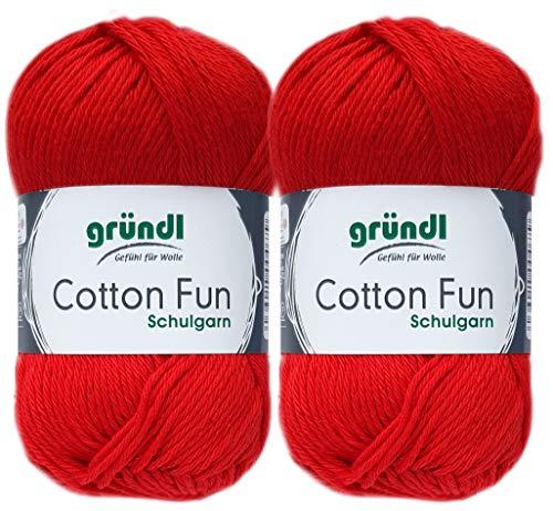 2x50 Gramm Gründl Cotton Fun Häkelgarn Schulgarn aus 100% Baumwolle + 1 Anleitung für EIN Meerschwein (06 Rot)