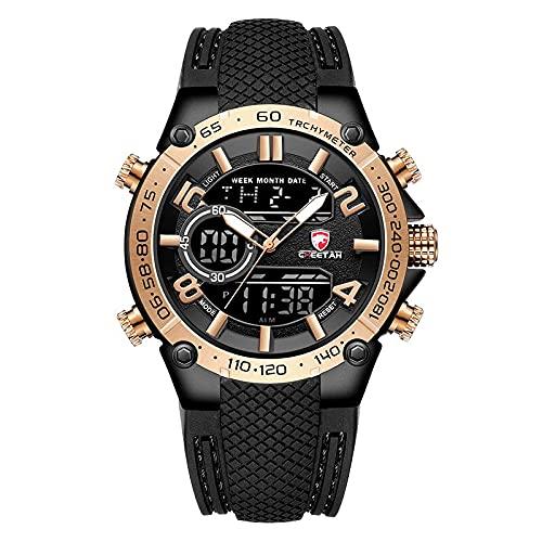 Hombres Relojes Military Sport Watches Mens Top Luxury Brand Mascule Reloj Dual Pantalla de Pulsera Reloj Aparcamiento al Aire Libre Reloj a Prueba de Agua(Oro Rosa)