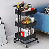 Plastic Storage Trolley Cart 3-Tier Storage Cart Rolling Cart, Mental Utility Cart Multi-Purpose Trolley Organizer Cart with Casters Organizer Trolley on Wheels for Office Kitchen Home (Black)