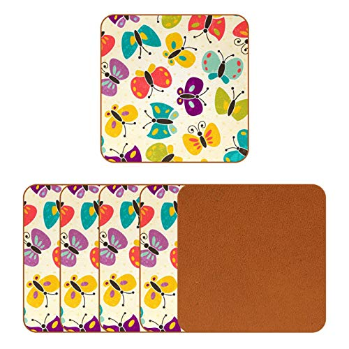 BENNIGIRY Mariposas de Colores Posavasos de Cuero Taza de café Cuadrada Taza de Vidrio Manteles Individuales Tapetes para Tazas Manteles Individuales 6 PCS
