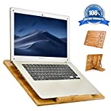 Laptop Stand wishacc Bamboo 5 Adjustable Angle Ventilated Stand - Ergonomic Riser Portable Computer Holder for MacBook Pro, Lenovo,All Notebooks,Pads