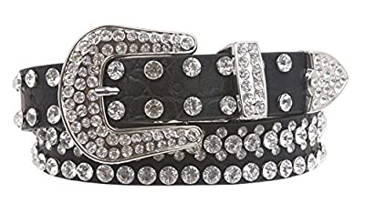 "Kids 1 1/16"" (27 mm) Western Cowgirl Rhinestone Studded Skinny Belt, Black 