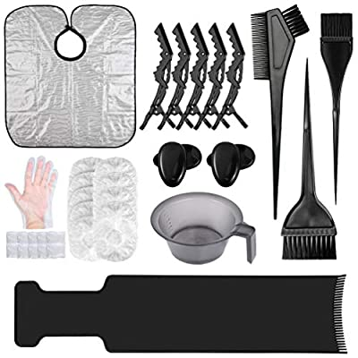 33PCS Hair Dye Brush and Bowl Set, Hair Dye Coloring Kit with Hair Tinting Bowl,Dye Brush,Ear Cover,Gloves,caps,Highlighting Board,clips and Coloring Cape For Salon/Home Hair Coloring Hair Dryers