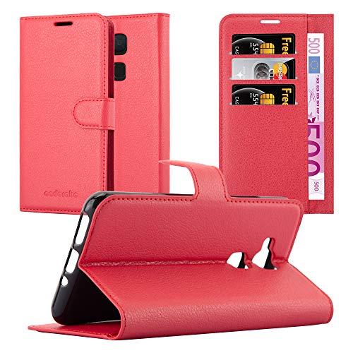 Cadorabo Hülle für BQ Aquaris V/Vs - Hülle in Karmin ROT - Handyhülle mit Kartenfach & Standfunktion - Case Cover Schutzhülle Etui Tasche Book Klapp Style