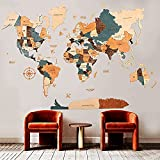 World Map Wall Art, Home Decor, Push Pin Map, Wood Map, Map of the World, Travel Push Pin Map, Personalized Map, Wooden World Map