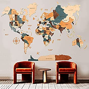 World Map Wall Art Home Decor Push Pin Map Wood Map Map of the World Travel Push Pin Map Personalized Map Wooden World Map