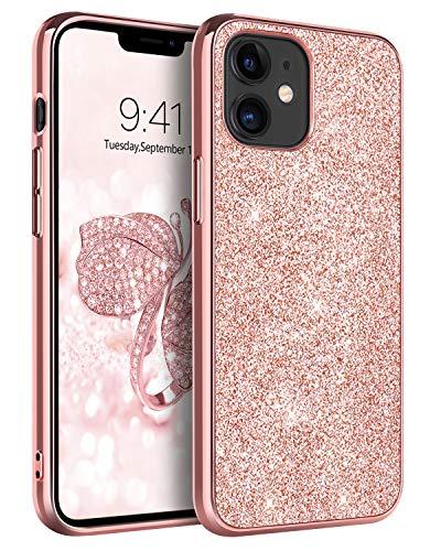 BENTOBEN Funda Compatible iPhone 12 Mini, iPhone 12 Mini Cover Ultra Delgada Brillante Purpurina Resistente Silicona Suave PC Dura Protectora Cuero Completa Fundas para iPhone 12 Mini 5.4''-Oro Rosa
