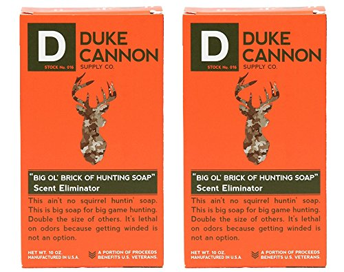 Duke Cannon Supply Co. - Big Ol  Brick of Hunting Soap, Scent Eliminator (2 Pack of 10 oz) Superior Grade Unscented, Odor Neutralizing & Eliminating Bar Soap