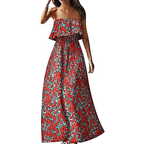 Vestito estivo da donna, abito corto estivo, da donna, abito estivo, abito da spiaggia, Colore: rosso, XXL