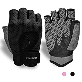 Breathable workoutgloves,knuckleweightliftingfingerless gymexercise gloveswithcurvedopenback,forpowerlifting,crossfit,womenandmen 1 palm protection and extra grip: the foam pad on the palm will buffer the impact of sport apparatus,protecting your hands from calluses and blisters. Honeycomb structure printed silica gel anti-skid to enhance the grip. Most of all, the palm of kansoon gloves are made of quality microfiber, a durable and ultralight material. Adjustable & convenient: adjustable velcros provide the user the possibility to adjust their personal comfort. Perfect fit for weight lifting, pull up, exercise, fitness, gym training and general workouts. The narrow wristbands make the fitness watch wore perfectly. And conveniently to do a exercise tracker exactly, when powerlifting, lifts, snatches, cross training and more. Humanized design: the back of hands are made of lycra, a light and breathable fabric. With the backless and hollow out back design, make perfect breathability and freedom during the workout. Soft towel constructe the back of thumb design for wipe the sweat handly. And the pull buckles on the fingertip make the weight lifting gloves easy take off.