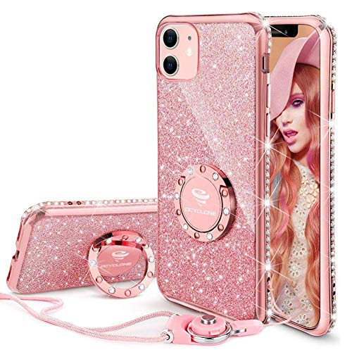 OCYCLONE for iPhone 11 Case, Cute Glitter Sparkle Bling Diamond Rhinestone Bumper with Ring Kickstand Women Girls Soft Pink Protective Phone Case for iPhone 11 [6.1 inch] 2019 - Rose Gold