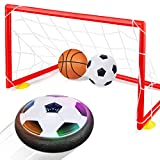 Betheaces Kids Toys Hover Soccer Ball Set with 2 Goals, Air Power Soccer LED Indoor Game Sports Gift Toys for 2, 3, 4, 5, 6, 7, 8 Year Old Boys Girls Included Inflatable Football, Basketball, Pump
