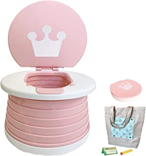 2-in-1 Portable Kids Potty Trainer, Travel Potty for Car Potty for Toddler, Folding Travel Potty Seat for Toddler with Lin...