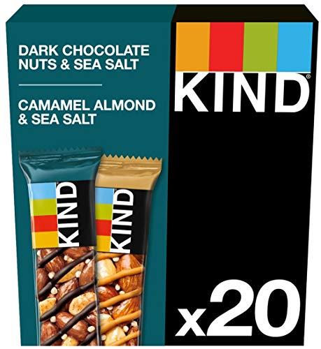 KIND Variety Pack- Caramel Almond & Sea Salt & Dark Chocolate Nuts & Sea Salt- Healthy Snack Bar- Natural Protein-20x 40g bar
