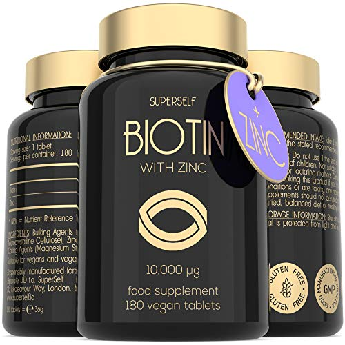 High Strength Biotin Tablets with Zinc - 10000mcg Biotin Tablets for Hair Nails & Skin - 6 Months Supply 180 Capsules 10 000mcg - UK Made & Vegan - Natural Supplement B7 Vitamins for Men and Women