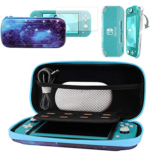CoBak Carrying Case for Nintendo Switch Lite - with 1 Screen Protector and 1 Grip Case, Ultra Slim Premium EVA Travel Pouch Protective Cover, 8 Game Cartridges, Space
