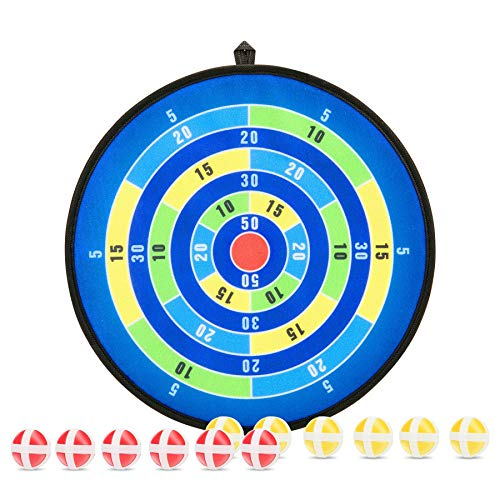 Dart Toys & Games for Kids, Dart Board Set with 12 Sticky Balls, Safe Indoor and Outdoor Sports Games, Best Fun Activity for Family, Great Gift for Boys Girls Toddler 3 Years Old and Up, 14 Inches