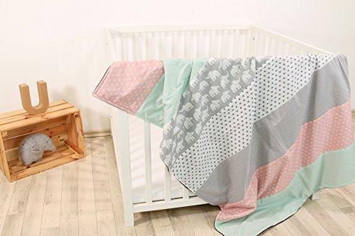 """ULLENBOOM ® Babydecke 100x140 cm """"Elefant Mint Rosa"""" (Made in EU) - Baby Kuscheldecke aus ÖkoTex Baumwolle & Fleece, ideal als Kinderwagendecke oder Spieldecke geeignet, Design: Sterne, Patchwork"""
